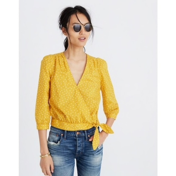 Madewell Tops - Madewell Wrap Top in Star Scatter Yellow Saffron